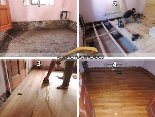 piso de madera sobre cámara de aire