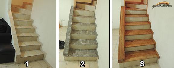 revestir escalera de madera