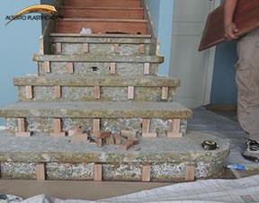 colocación de escaleras de madera